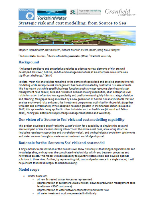 Yorkshire Water: Strategic Risk and Cost Modelling: From Source to Sea Case Study