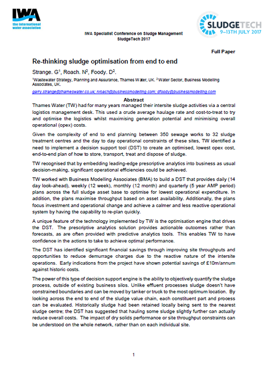 BMA Develops Sludge Optimisation Tool for Thames Water That Delivers Significant Savings White Paper