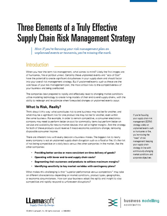 Three Elements Of A Truly Effective Supply Chain Risk Management Strategy White Paper
