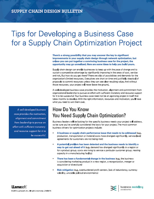 Tips For Developing A Business Case For A Supply Chain Optimisation Project White Paper